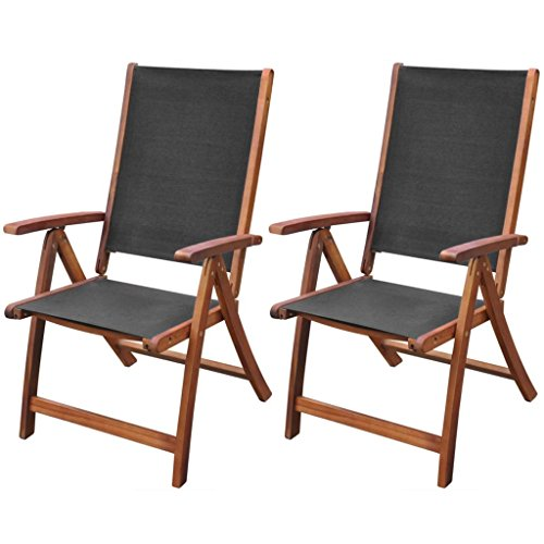 (Festnight Set of 2 Patio Folding Dining Chairs with Adjustable Reclining Backrest and Armrest Lounge Chair Acacia Wood Outdoor Garden Patio Yard Furniture)