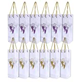 Wine Gift Bags - 12-Pack Wine Bags for Anniversary, Birthday, All Occasion – Vineyard Design / Gold and Purple Grapes Theme, Spirits and Wine Bottle Gift Bags with Handles