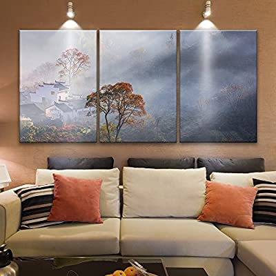 Astonishing Craft, 3 Panel Chinese Ancient Style Houses with White Wall and Black Tiles Among Mist in Mountains x 3 Panels, Professional Creation