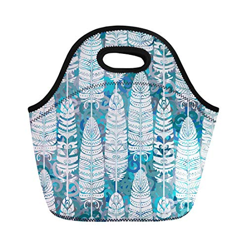 Semtomn Lunch Tote Bag Abstract Birds Feathers Tribal Animal Boho Vintage Aztec Batik Reusable Neoprene Insulated Thermal Outdoor Picnic Lunchbox for Men Women