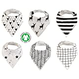 Baby Bandana Drool Bibs Organic 6 Pack for Boys and Girls Soft Cotton With Snaps for Teething Drooling Feeding Unisex Baby Shower Gift Newborn Registry Gift Set Burp Cloth (Black White Stripe)