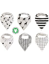 Baby Bandana Drool Bibs Organic 6 Pack for Boys and Girls...