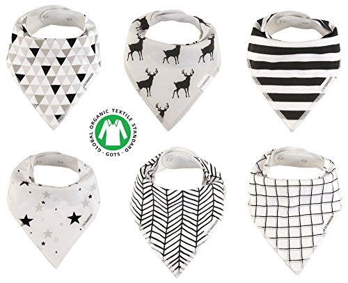 Price comparison product image Baby Bandana Drool Bibs Organic 6 Pack for Boys and Girls Soft Cotton With Snaps for Teething Drooling Feeding Unisex Baby Shower Gift Newborn Registry Gift Set Burp Cloth (Black White Stripe)