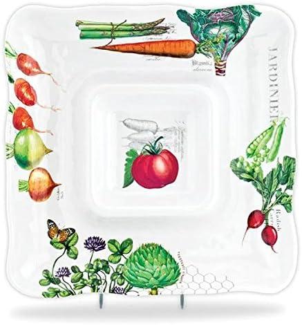 Amazon Com Michel Design Works Melamine Chip And Dip Serving Tray Vegetable Kingdom Chip Dip Sets