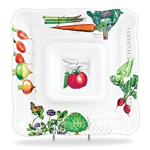 (Michel Design Works Melamine Chip and Dip Serving Tray, Vegetable Kingdom)