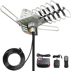 TV Antenna, Vansky Outdoor Amplified Digital HDTV Antenna 150 Mile 360 Rotate Support 2TVs HD UHF/VHF Channel