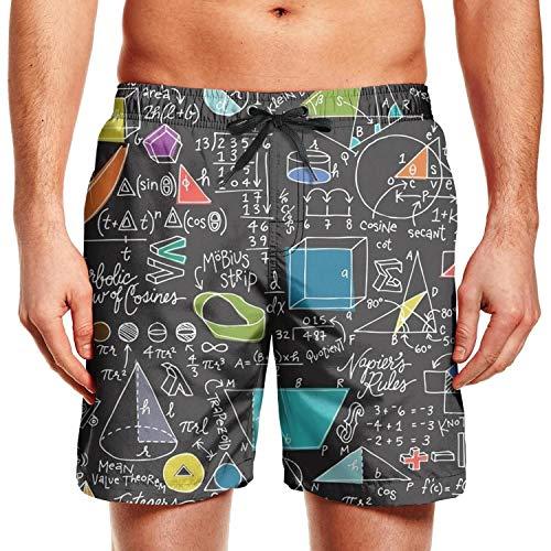 Lfeeinuj Math Equations Black Backdrop Man Swimming Trunks Casual Street Swimwear