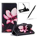 Leather Case for Samsung Galaxy A5 2017 A520,Flip Wallet Cover for Samsung Galaxy A5 2017 A520,Herzzer Stylish Pink Lotus Pattern Magnetic Closure Purse Folio Smart Stand Cover with Card Cash Slot Soft TPU Inner Case for Samsung Galaxy A5 2017 A520 + 1 x Free Black Cellphone Kickstand + 1 x Free Black Stylus Pen