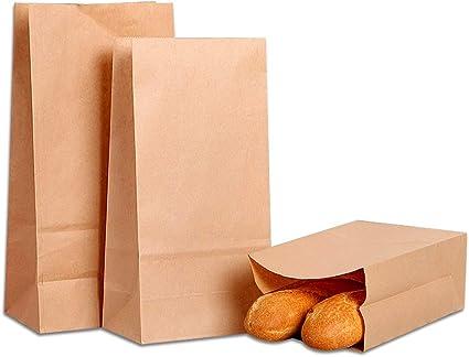 100 Piezas Bolsas de Regalo para Alimentos Bocadillos Sandwich Chuches Pan Bodas Fiestas Liwein Bolsa de Papel Kraft Marr/ón