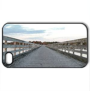 walking trail - Case Cover for iPhone 4 and 4s (Bridges Series, Watercolor style, Black)