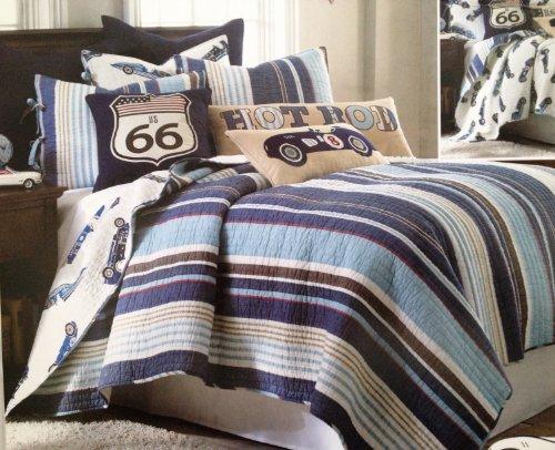 Hot Rod Cars Reversible Denim Blue Stripe Cotton Quilt Set