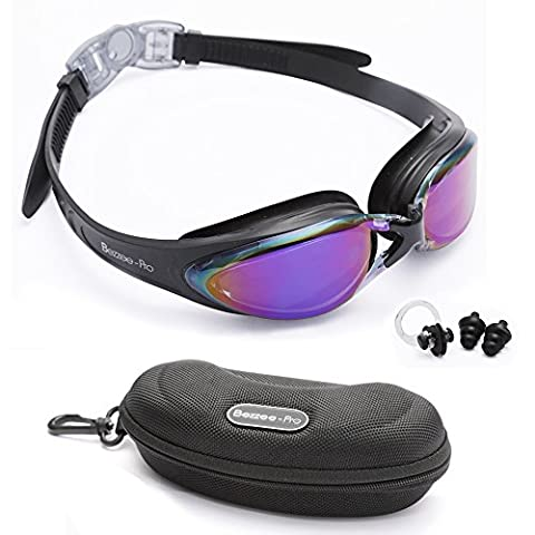 Swimming Goggles Adult Adjustable Non Toxic Silicone Straps - UV Protected Anti-Fog Purple Color Lens - Fog Resistant Swim Goggle with Zipper Case Ear Plug and Nose