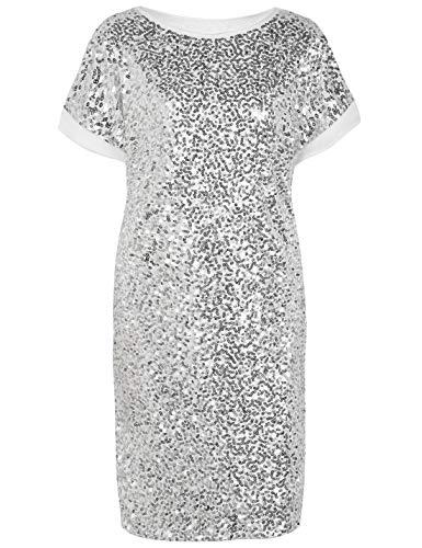 PrettyGuide Women's Sequin Dress Loose Glitter Dolman Sleeve Party Gown Club Dress XL Silver