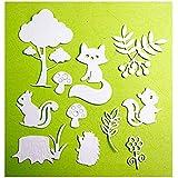 Tree Die Cut Mushroom Squire Fox Cutting Dies Animal for Scrapbooking Card (12 Packs Metal Dies)