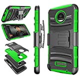Tekcoo for Moto Z Play Case, for Moto Z Force Holster Belt, [Hoplite] Shock Absorbing [Green] Locking Clip Defender Full Body Kickstand Carrying Armor Cases Cover for Motorola Moto Z Force/Play Droid