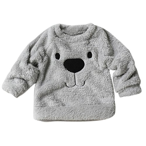 Fineser TM Toddler Unisex Baby Warm Fleece Blouse Kid's Cute Cartoon Bear Fur Pullover Sweatshirt (Gray, 24M) (Flock Jumper)