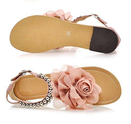 Kvinnor Sandaler Beading Blommor Skor Plattformar Sommar Flats Sandaler Rosa