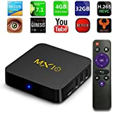 Android tv Box 8.1, MX10 Android TV Box with Quad Core 4GB DDR4/32GB eMMC Storage True 4K HDR @60fps UHD Video Playback USB 3.0 and Fast Ethernet Port/WiFi [M8S MXQ Upgraded/8 Seconds Fast Boot]