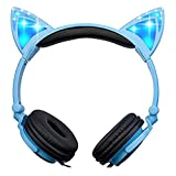 Teetox Cat Ear Headphones Kids Headphones Blinking Fashion Glowing Cosplay Fancy Foldable Over-Ear Gaming Headsets with LED Light for iPhone6s,6s Plus,Android,iPad and Computer,Blue