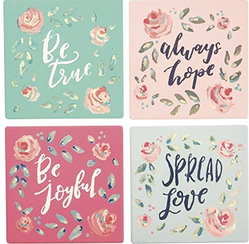 - Primitives by Kathy 37865 Absorbent Stone Coasters, Set of 4, Be Be Joyful