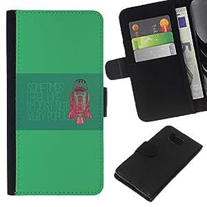 KLONGSHOP // Tirón de la caja Cartera de cuero con ranuras para tarjetas - Robot No muy Popluar - Samsung ALPHA G850 //