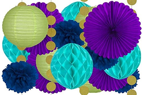 20 Pcs Hanging Party Decoration Supplies Kit in Purple Teal Blue Green and Gold Includes 4 Tissue Fans 4 Lanterns 4 Honeycombs 4 Pom Pom Flowers and 4 Strings of Dot Garland