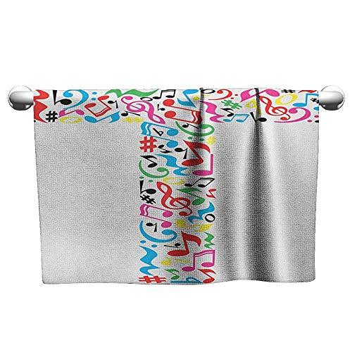 Printed Towel W35 x L12 Letter T,Uppercase T Letter Colorful Sheet Music Elements Font Alphabet Design Art Style, Multicolor Beach Digital Printing Soft Towel