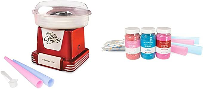 Nostalgia PCM805RETRORED Retro Hard & Sugar Free Cotton Candy Maker with Cotton Candy Party Kit