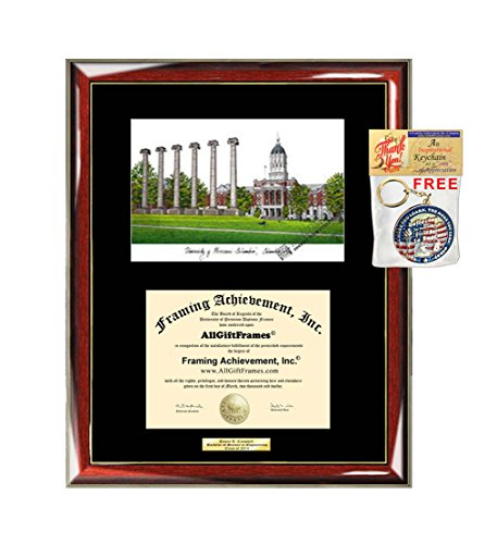 AllGiftFrames University of Missouri Diploma Frame Lithograph Degree Graduation Framing Black Matted Engraved Custom University Graduate Gift Holder Case