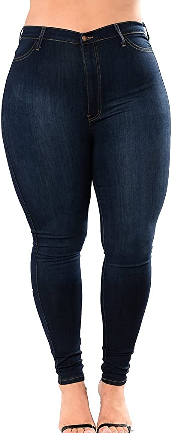 Jean Skinny Femme Stretch Taille Haute Pantalon Push Up Leggings Grande Taille