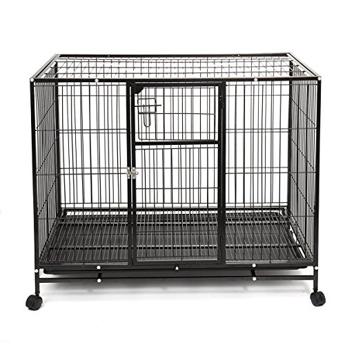 "Haige Pet Heavy Duty Dog Crate 42"" Large Metal Wire Pet Cage Kennel w/Wheels & Tray Black"