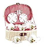 Delton Products Ladybug Kids Tea Set for Two in Basket (19 Piece)