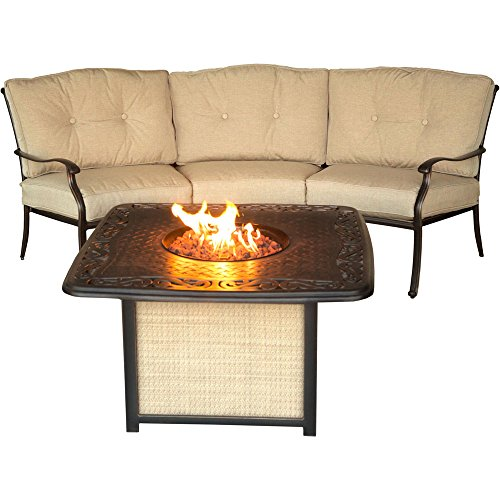 Hanover TRADITIONS2PCFP Outdoor Cast Tabletop Fire Pit Lounge Set (2 Piece), Natural Oat/Antique Bronze