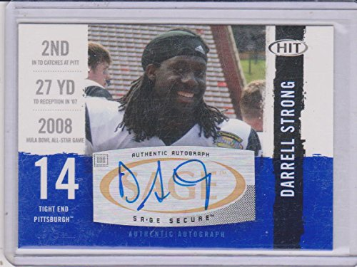 2008 Sage Autographed Football (2008 Sage Hit Darrell Strong Pittsburgh Autographed Insert Football Card #A74)