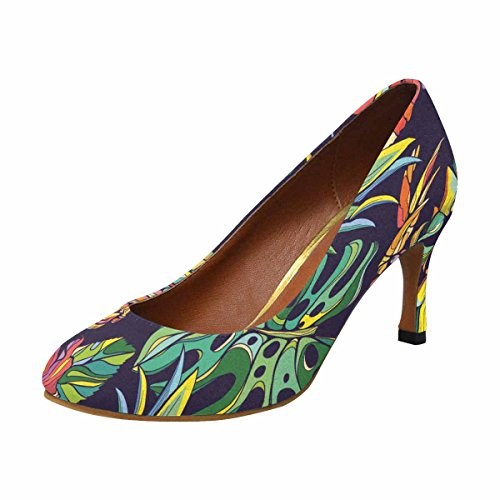 Interestprint Mujeres Classic Fashion High Heel Dress Pump Colorido Vector Tropical Pattern