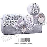Set spugna Lavette Romanticamente Shabby chic - 6 asciugamani viso cm 30x30 100 % cotone con cassettina legno Shabby - Idea Regalo