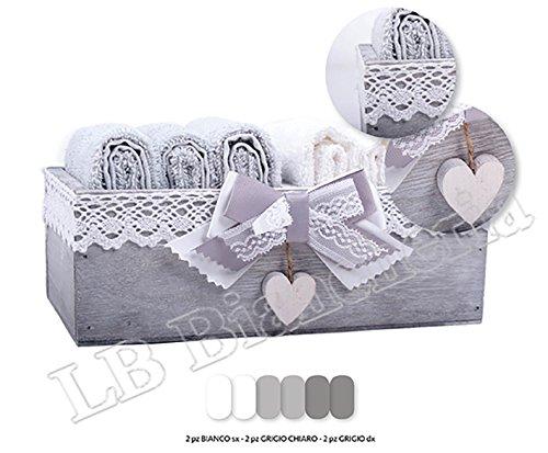 Set spugna Lavette Romanticamente Shabby chic - 6 asciugamani viso cm 30x30 100 % cotone con cassettina legno Shabby - Idea Regalo Lbbiancheria