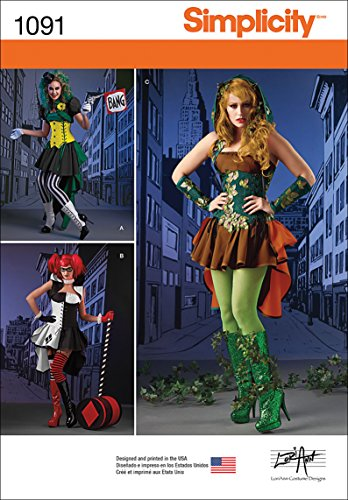 Simplicity 1091 Women's Comic Book Villain Cosplay and Halloween Costume Sewing Patterns, Sizes 6-14