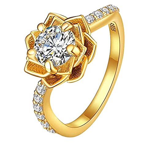 Gold-Plated Sterling Silver Cubic Zirconia Three-Row Pave Round Cut Women's Ring Size 8 (Cubic Zirconia Gold Rings)