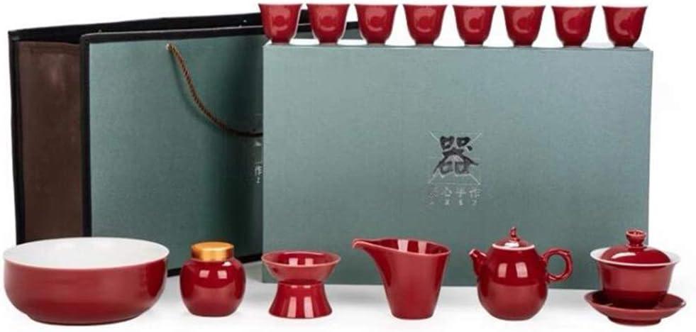 Wtbew-u Juego De Té De Kung Fu, Juego De Té De Cerámica Rojo Chino Vintage, Negocios, 2 Juegos: Amazon.es: Hogar