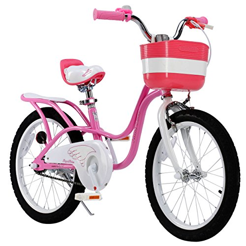 RoyalBaby-Little-Swan-Girls-Bike-with-basket-14-16-or-18-inch-girls-bike-with-training-wheels-or-kickstand-gifts-for-kids-girls-bicycles
