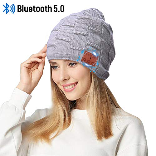 Fairwin Bluetooth Beanie Hat, Smart Wireless Music Beanie for Men and Women, Cashmere Warm Ski Music Hat Knit Gift Cap with Earphones for Winter Cycling Running Skating Hiking (Light Grey)...