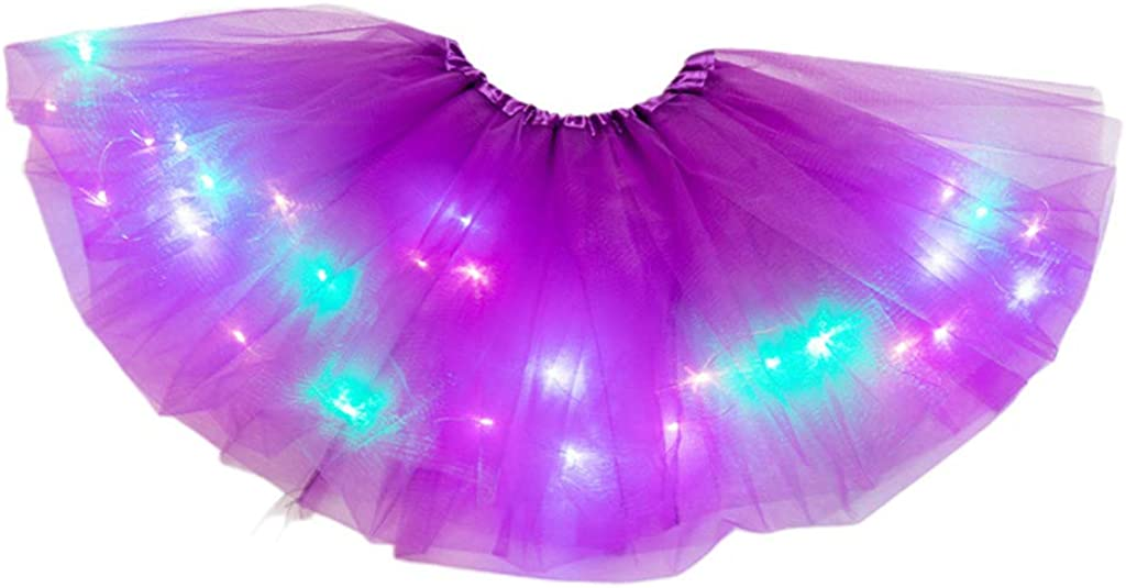 ER-NMBGH Girls LED Light Up Tutu Skirt Neon Colorful Luminous Party Dance Dress,Tutu Skirt Fairy Rainbow Elastic Tulle Pleated Ballet Fluffy Short Skirt,Party Fancy Small Bulb Dress
