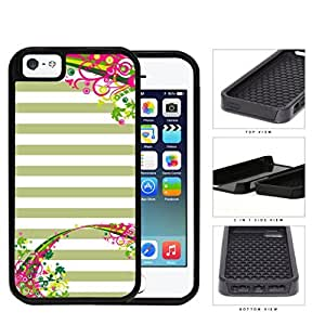 Pastel Olive Green & White Horizontal Stripes With Top & Bottom Floral Flower Vine Swirls iPhone 5 5s (2-piece) Dual Layer High Impact Cell Phone Case