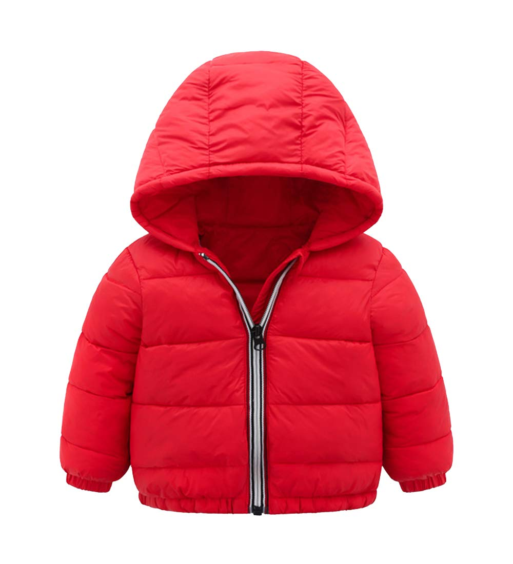 Ding Dong Kid Boy Girl Winter Hoodie Zipper Coat(Red,5T)