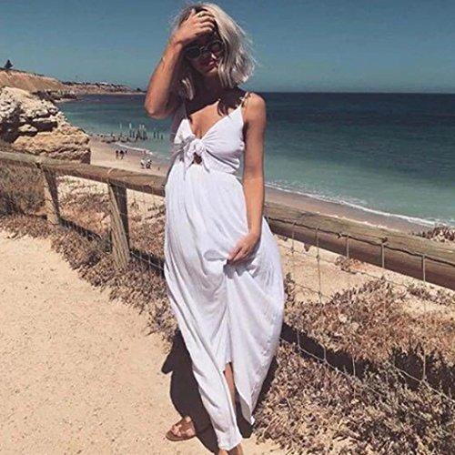 Donna SANFASHION maniche Senza Triangolo Vestito Bekleidung Bianco CqqwRa4n