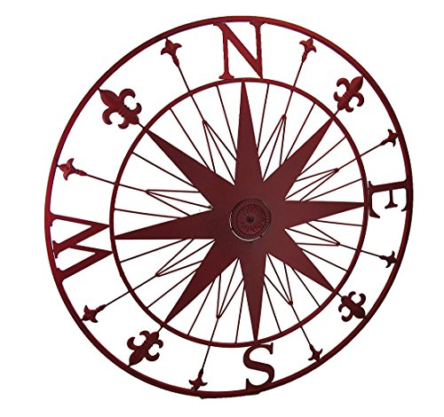 Zeckos Compass Rose Fleur De Lis Vintage Finish Metal Wall Hanging ()