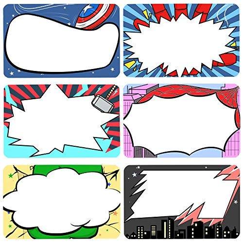 Superhero Name Tags Labels Kids and Adult Handwriteable Stickers for School Office Home, Ideal for Students or Teachers Supply, 6 Designs 180 -