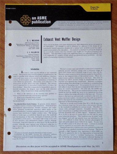 Exhaust Vent Muffler Design Paper No. 71-Saf-A (An ASME Publication)