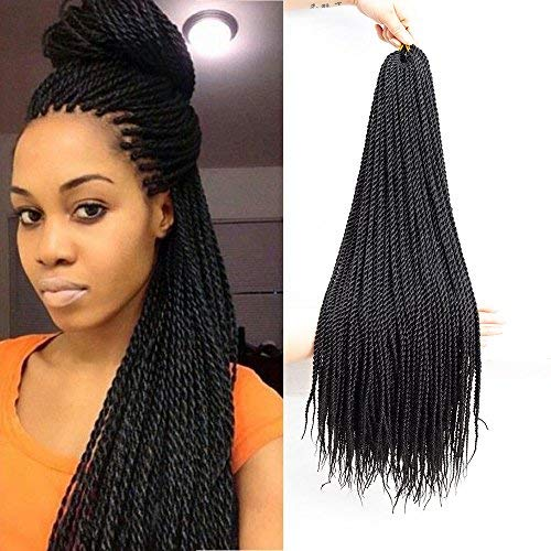 VRUnique 7 Packs (22Inch, 1B#) Senegalese Twist Crochet Hair Braids Small Havana Mambo Twist Crochet Braiding Hair Senegalese Twists Hairstyles For Black Women 30 Strands/Pack